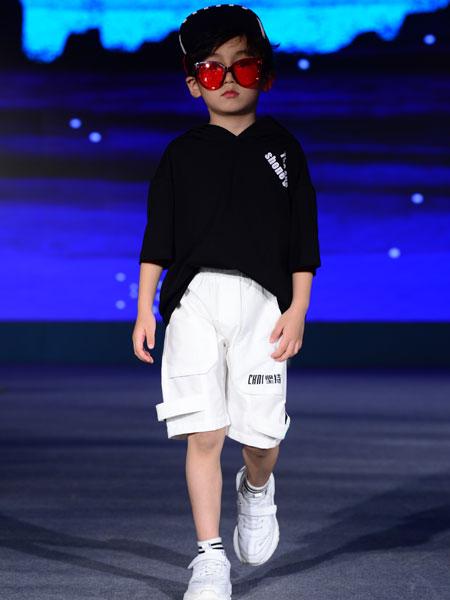 西萌叮童装品牌2020春夏纯色黑色连帽短袖