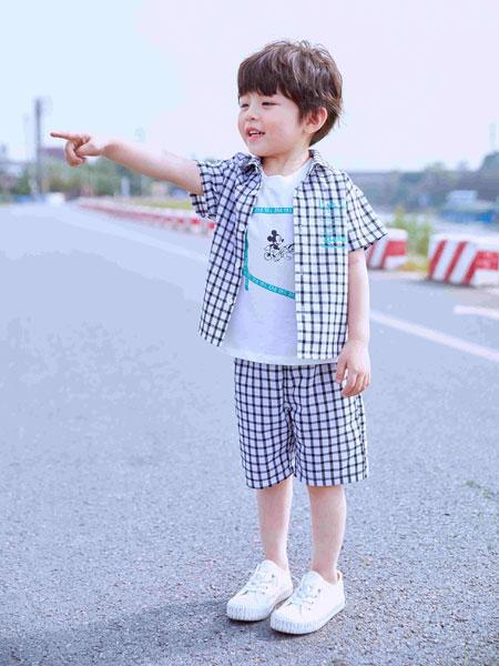 早言童装品牌2020春夏条纹短袖衬衫短裤
