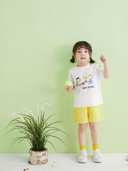 早言童装品牌2020春夏白体恤黄短裤