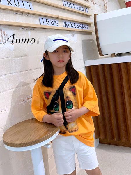 安墨Anmo童装品牌2020春夏宽松卡通纯棉短袖