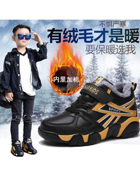 coga酷嘎童鞋品牌2020秋冬加绒皮面防滑