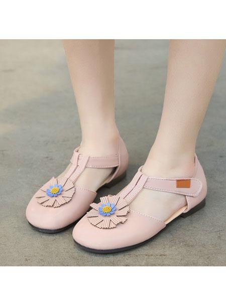 jugo童鞋品牌2020春夏新款花朵女童凉鞋单鞋防滑魔术贴淑女童鞋女公主鞋