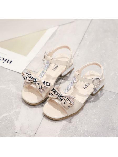 jugo童鞋品牌2020春夏新款淑女百搭凉鞋防滑蝴蝶结女童鞋公主鞋魔术贴单鞋女