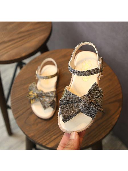 jugo童鞋品牌2020春夏凉鞋女童淑女亮闪童鞋魔术贴三色蝴蝶结公主鞋淑女