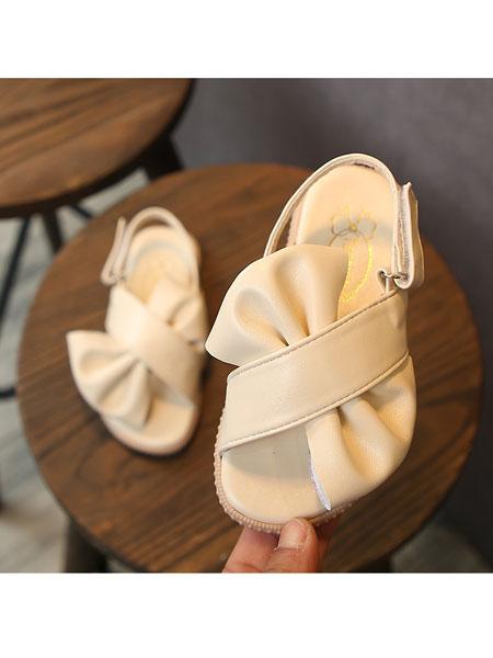 jugo童鞋品牌2020春夏凉鞋PU皮女童鞋蝴蝶结拖鞋女透气防滑公主鞋