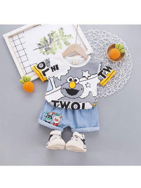 跨跨鱼童装品牌2020春夏儿童套装0-4岁婴儿短袖衣服卡通图案婴幼儿童装