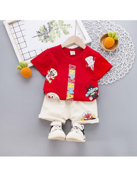 跨跨鱼童装品牌2020春夏短袖男童套装中小童夏季韩版卡通两件套上衣裤子童装
