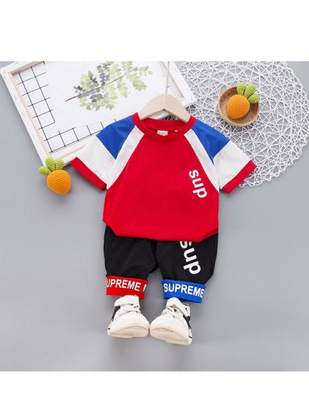 跨跨鱼童装品牌2020春夏新款儿童套装韩版拼色短袖休闲中裤两件套