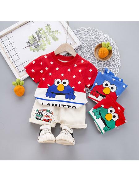 跨跨鱼童装品牌2020春夏T恤新款2020童装童套装儿童星星短袖小童休闲两件套