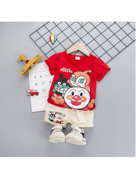 跨跨鱼童装品牌2020春夏新款女童套装韩版卡通短袖T恤时尚短裤两件套