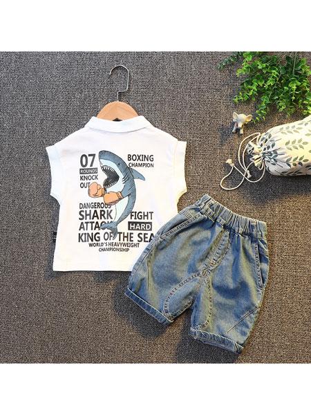 跨跨鱼童装品牌2020春夏新款夏装儿童套装 男童短袖宝宝牛仔裤T恤韩版翻领童装两件套
