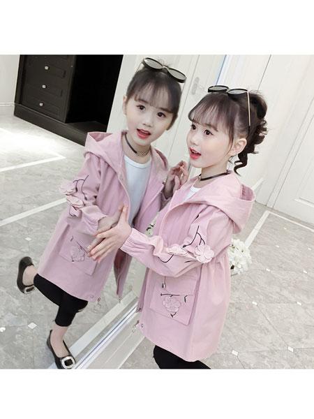 超倪童装品牌2020春夏洋气韩版童装 女童小花朵风衣外套时尚