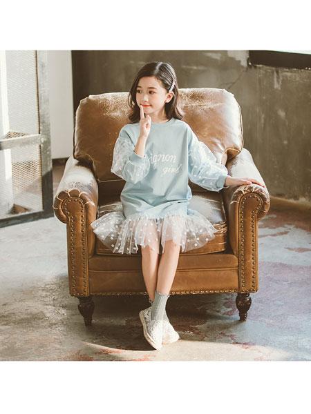超倪童装品牌2020春夏新款女孩裙子春春拼接网纱卫衣裙