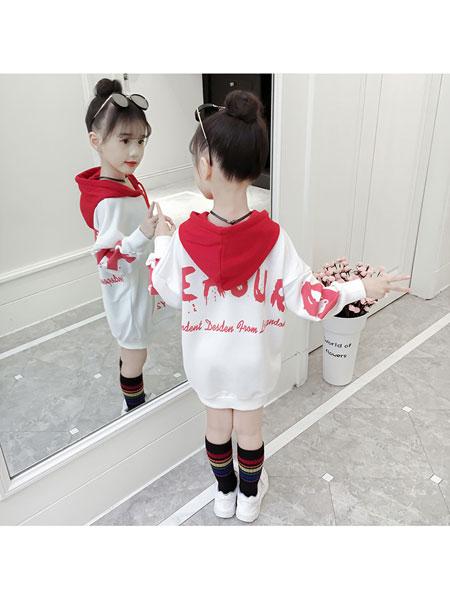 超倪童装品牌2020春夏中大童宽松长袖女童字母卫衣