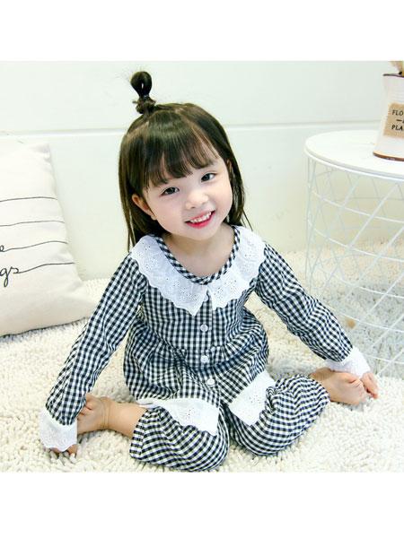 新恒梦想童装品牌2020春夏纯棉长袖款小女孩小童格子空调家居服套装
