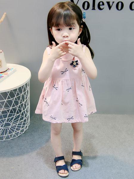 新恒梦想童装品牌2020春夏新款全棉蜻蜓可爱无袖女童连衣裙儿童裙子