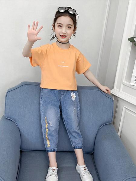 豆巴士童装品牌2020春夏纯色纯棉短袖