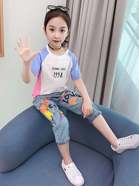豆巴士童装品牌2020春夏女童套装短袖