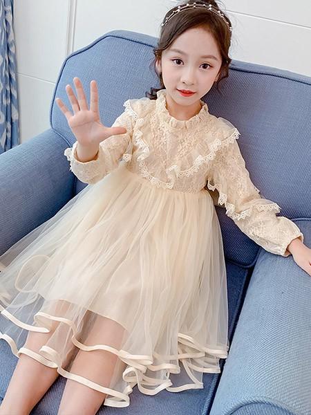 豆巴士童装品牌2020春夏女童网纱连衣裙