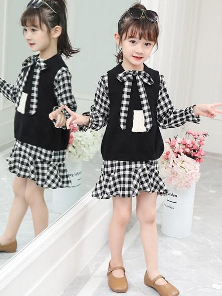 豆巴士童装品牌2020春夏女童时尚两件套裙子