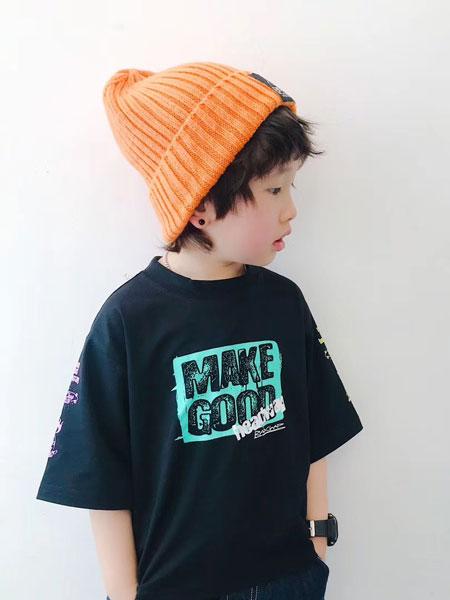 亚尔趣汇童装品牌2020春夏日系嘻哈文字涂鸦风纯棉短袖T恤 男女儿童宽松上衣