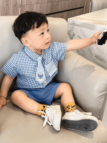 宝贝真乖童装品牌2020春夏男宝宝新款洋气条纹水果印花短袖T恤短裤两件套