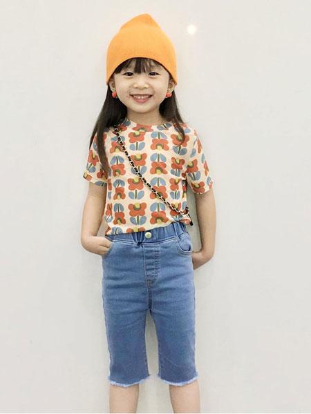 衣漫森林童装品牌2020春夏绚雅风网纱花朵印花儿童紧身短袖T恤潮