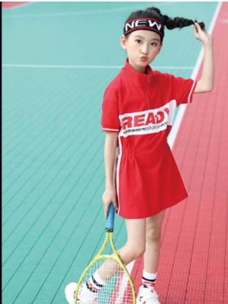 卡儿菲特童装品牌2020春夏红色运动裙