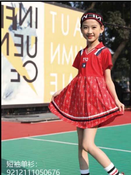 卡儿菲特童装品牌2020春夏红色连衣裙
