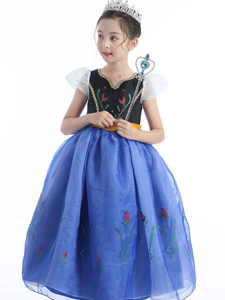 帕芭比童装品牌2020春夏童装冰雪奇缘儿童安娜公主裙女童连衣裙万圣节演出服