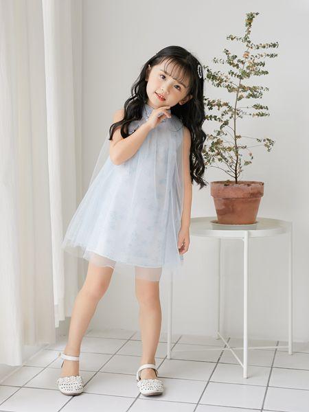 拉斐贝贝童装品牌2020春夏浅蓝色连衣裙网纱无袖