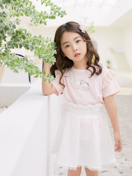 拉斐贝贝童装品牌2020春夏T恤粉色白色半身裙