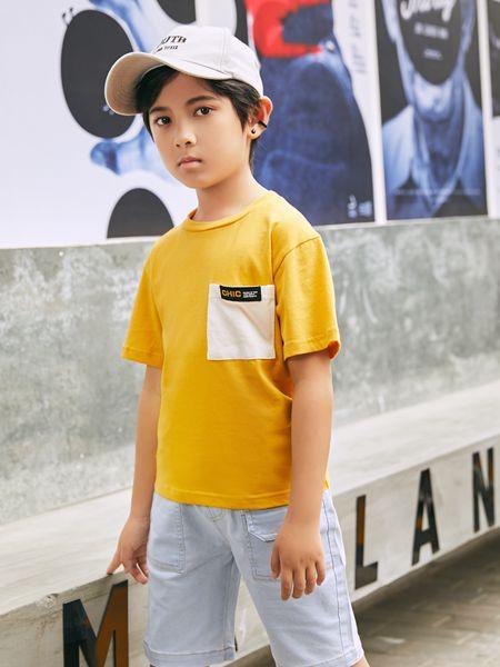 拉斐贝贝童装品牌2020春夏黄色T恤口袋男童