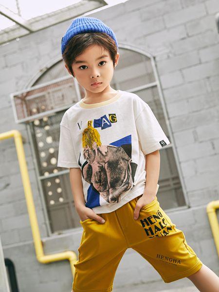 拉斐贝贝童装品牌2020春夏白色T恤黄色七分裤男童