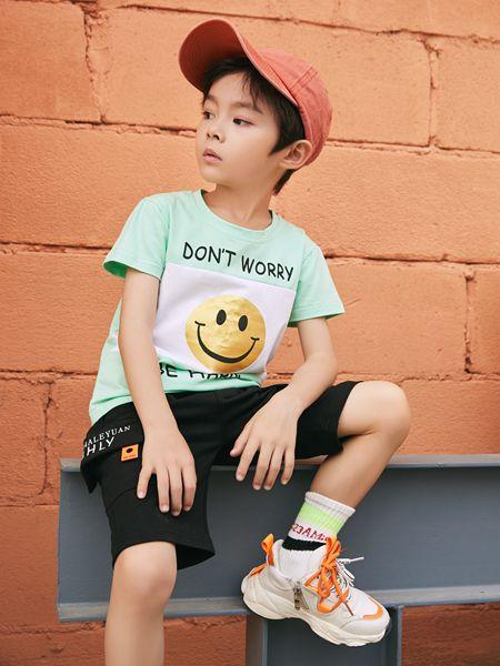 拉斐贝贝童装品牌2020春夏绿色T恤笑脸男童