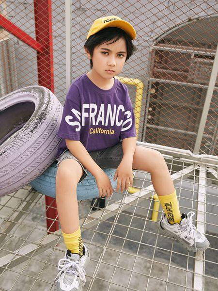 拉斐贝贝童装品牌2020春夏紫色T恤男童