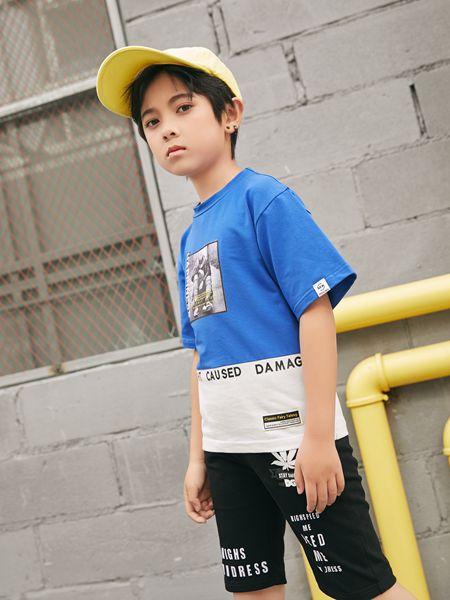 拉斐贝贝童装品牌2020春夏蓝白色T恤男童