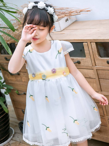 123童装童装品牌2020春夏白色连衣裙