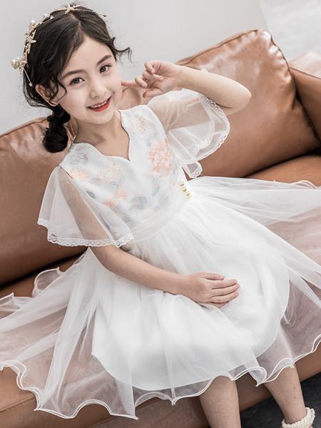 123童装童装品牌2020春夏网纱连衣裙