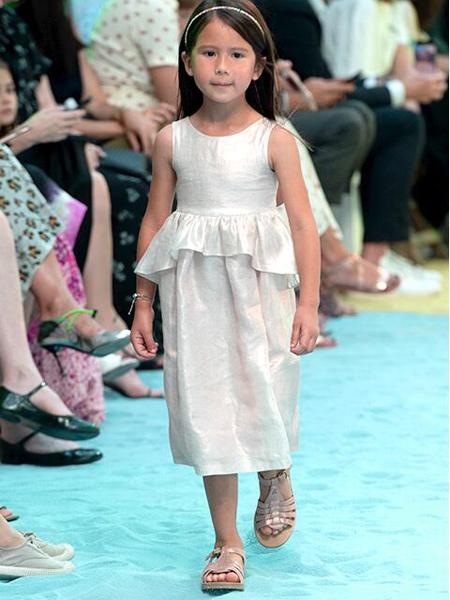 Bonpoint童装品牌2020春夏个性荷叶边裙子