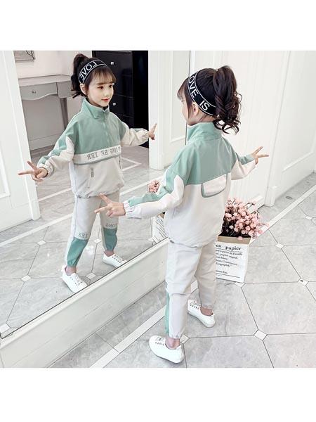 惟衣为童童装品牌2020春夏休闲套装洋气学院风中大童潮流韩版两件套