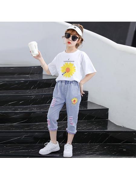 惟衣为童童装品牌2020春夏新款女童小雏菊印花韩版休闲宽松套装两件套
