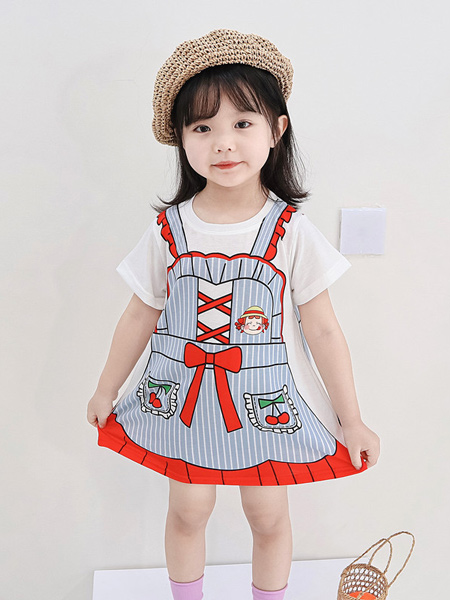 顾小金童装品牌2020春夏女童卡通短袖3D数码印花连衣裙