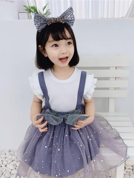 顾小金童装品牌2020春夏女童小兔子连衣裙 兔耳朵波点纱裙