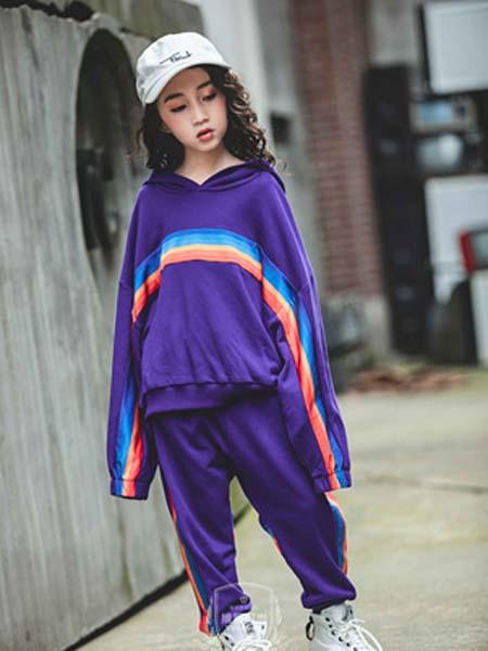 维尼叮当童装品牌2020春夏套装紫色