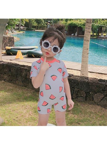 恒夏童装品牌2020春夏韩版ins儿童西瓜泳衣女童连体公主泳衣 婴儿宝宝防晒温泉游泳衣潮