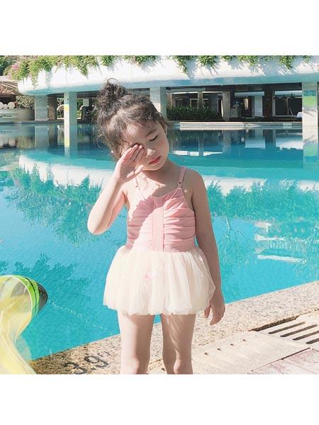 恒夏童装品牌2020春夏韩国儿童泳衣女女童ins可爱公主连体纱纱裙式游泳衣宝宝温泉泳装