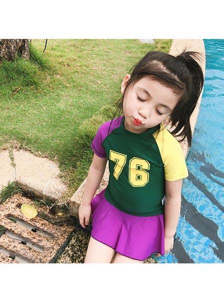 恒夏童装品牌2020春夏韩版撞色运动儿童泳衣女童分体防晒宝宝小中童女孩度假温泉游泳衣