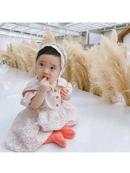 童轩童装品牌2020春夏韩版女童短袖娃娃领田园碎花公主裙夏季新款小童棉布裙