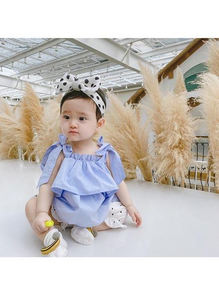 童轩童装品牌2020春夏新款纯色双层荷叶边吊带衫+纯色短裤两件套女童时髦洋气套装